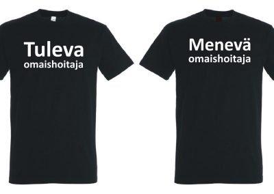 Musta T-paita edestä ja takaa, jossa teksti Tuleva omaishoitaja Menevä omaishoitaja.